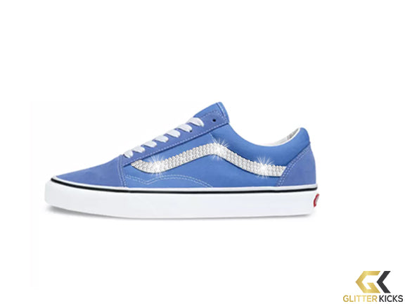 Womens Vans Old Skool + Crystals - Ultramarine/True White