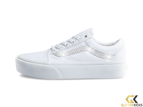 Womens Vans Old Skool Platform + Crystals - True White