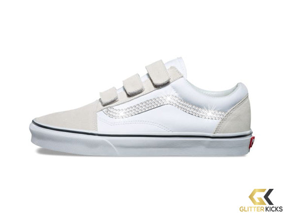 CLEARANCE - Womens Vans Old Skool V + Crystals - True White - Size 5