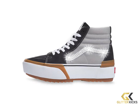 Womens Vans SK8-HI Platform Stacked + Crystals - Drizzle/True White