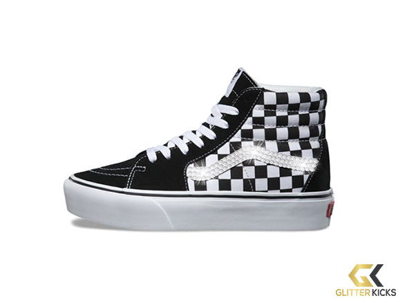 Vans SK8-HI Platform + Crystals - Checkerboard True White
