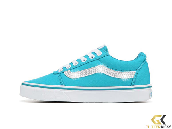 Women's Vans Ward Low Top Sneakers + Crystals - Bluebird/White