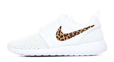 Nike Roshe One + Hand Customized Cheetah Print Swoosh - White/White