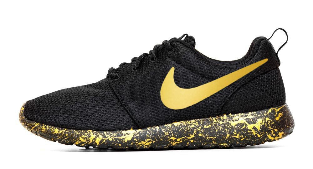 Nike Roshe One + Hand Customized Gold Swoosh & Paint Speckle - Black/Black