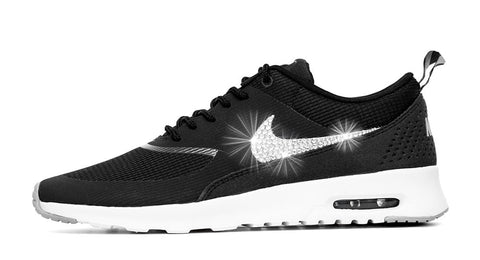 Nike Air Max Thea - Customized With Swarovski Crystals - Black/Grey/White - Glitter Kicks