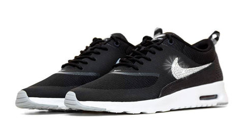 Nike Air Max Thea - Customized With Swarovski Crystals - Black/Grey/White
