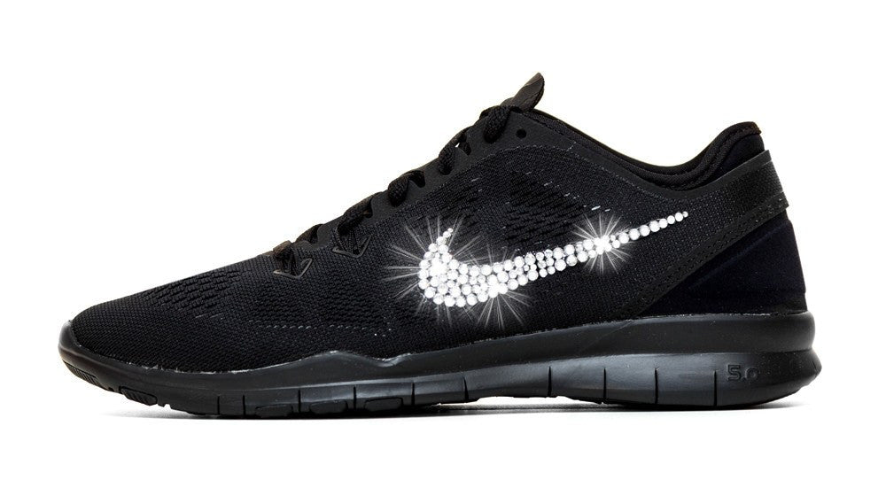 Nike Free Run TR Fit 5 - Triple Black + Crystallized Swarovski Swoosh - Glitter Kicks - 1