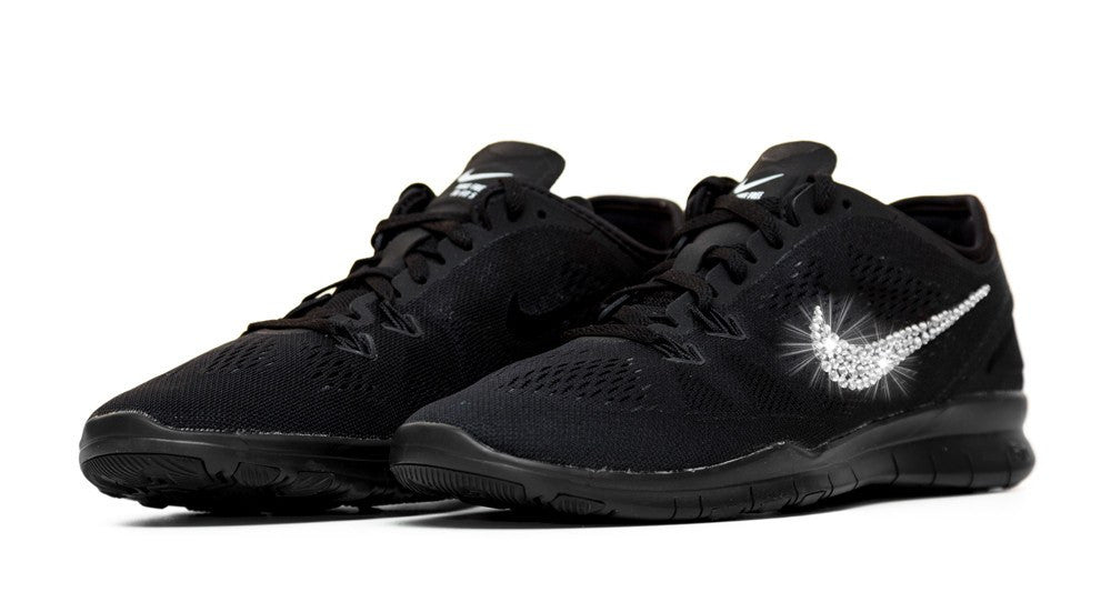 Nike Free Run TR Fit 5 - Triple Black + Crystallized Swarovski Swoosh - Glitter Kicks - 3