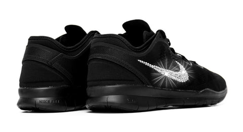 Nike Free Run TR Fit 5 - Triple Black + Crystallized Swarovski Swoosh