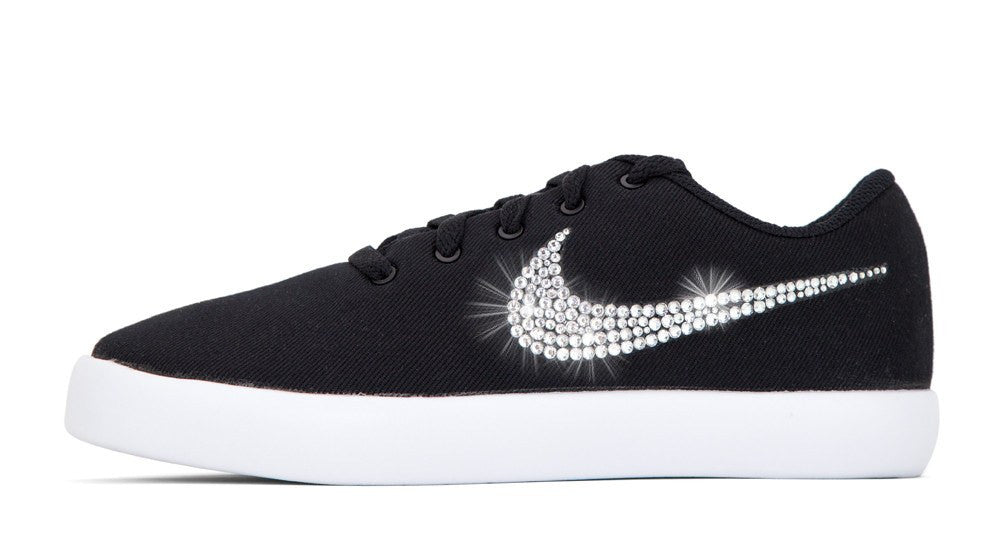 Nike Essentialist - Crystallized Swarovski Swoosh - Black/White - Glitter Kicks