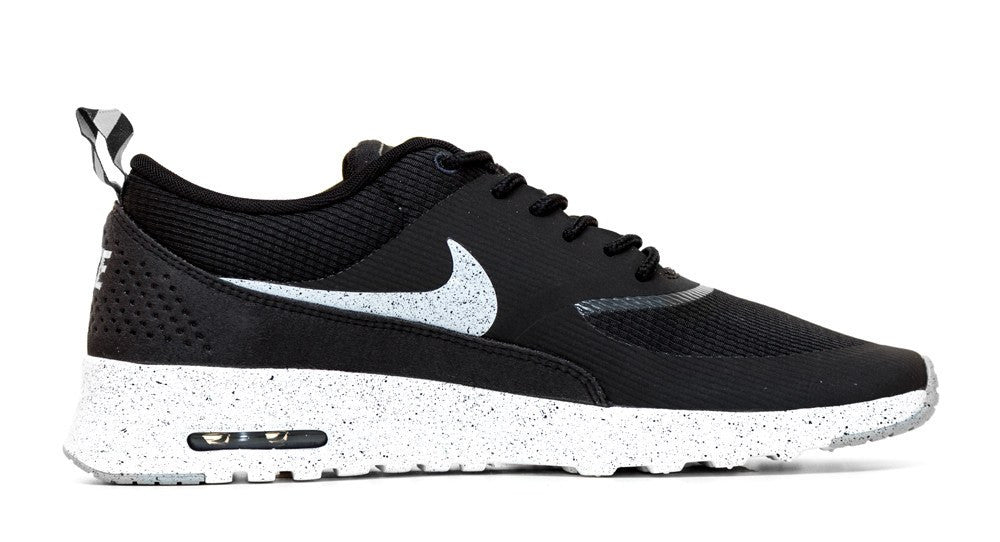Nike Air Max Thea - Paint Speckled Sole & Swoosh - Black/White/Gray - Glitter Kicks