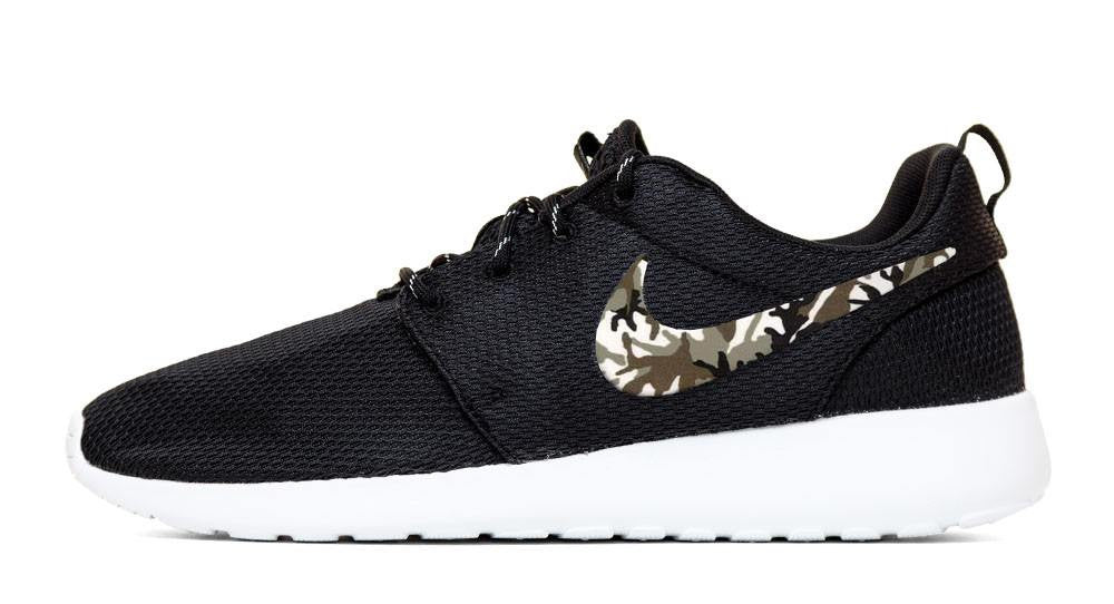 f56a3ec7ee67 Nike Roshe One - Hand Customized Camo Print Swoosh - Black White (Men s)