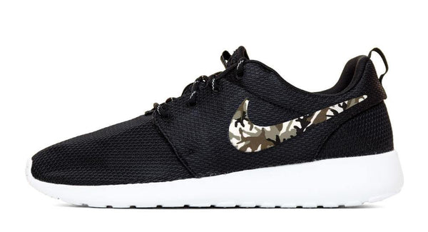 cheap for discount 56898 ec0ea Nike Roshe One - Hand Customized Camo Print Swoosh - Black White (Men  –  Glitter Kicks
