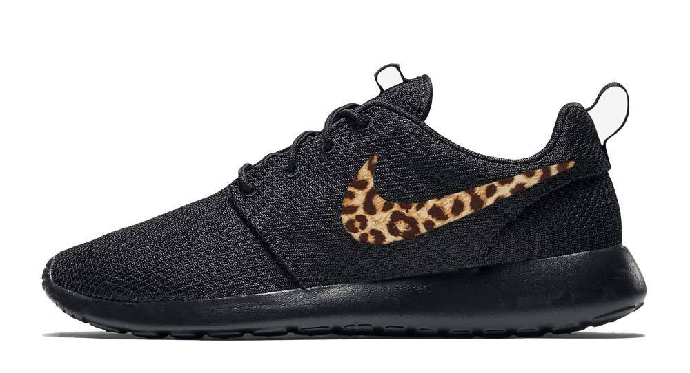 Nike Roshe One + Hand Customized Cheetah Print Swoosh - Black/Black