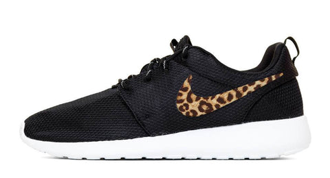 Nike Roshe One - Hand Customized Cheetah Print Swoosh - Black/White