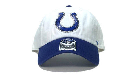 Indianapolis Colts Two-Tone '47 Brand Adjustable Cap + Custom Swarovski Crystals