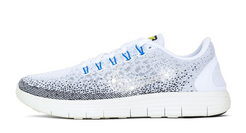Women's Nike Free RN Distance - Hand Customized with Swarovski Crystallized Swoosh - Gray/White/Blue