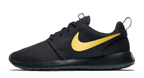 Nike Roshe One + Hand Customized Gold Swoosh - Black/Black