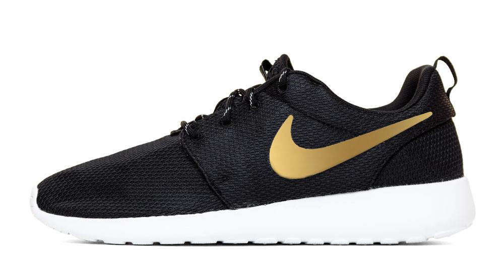 Nike Roshe One - Hand Customized Metallic Gold Swoosh - Black/White