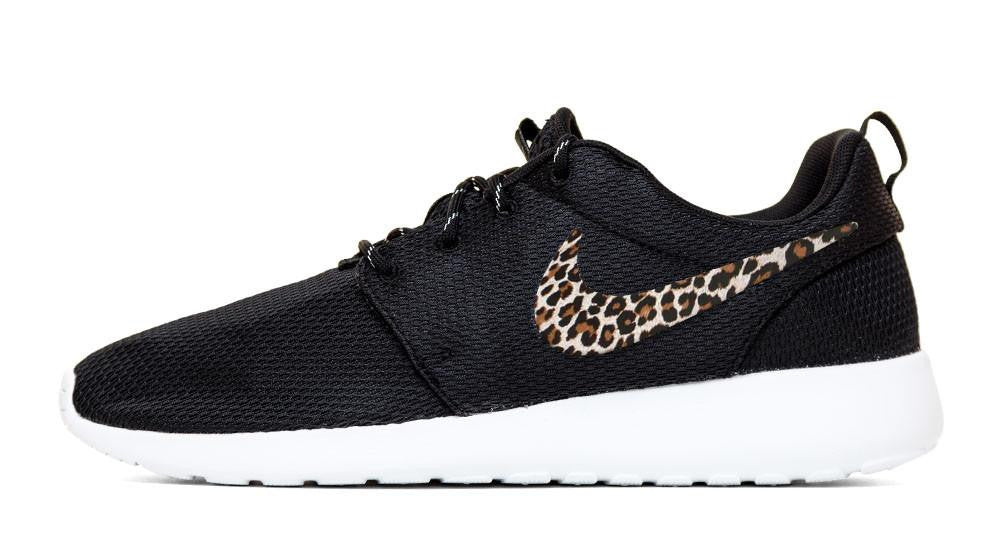 Nike Roshe One - Hand Customized Leopard Print Swoosh - Black/White