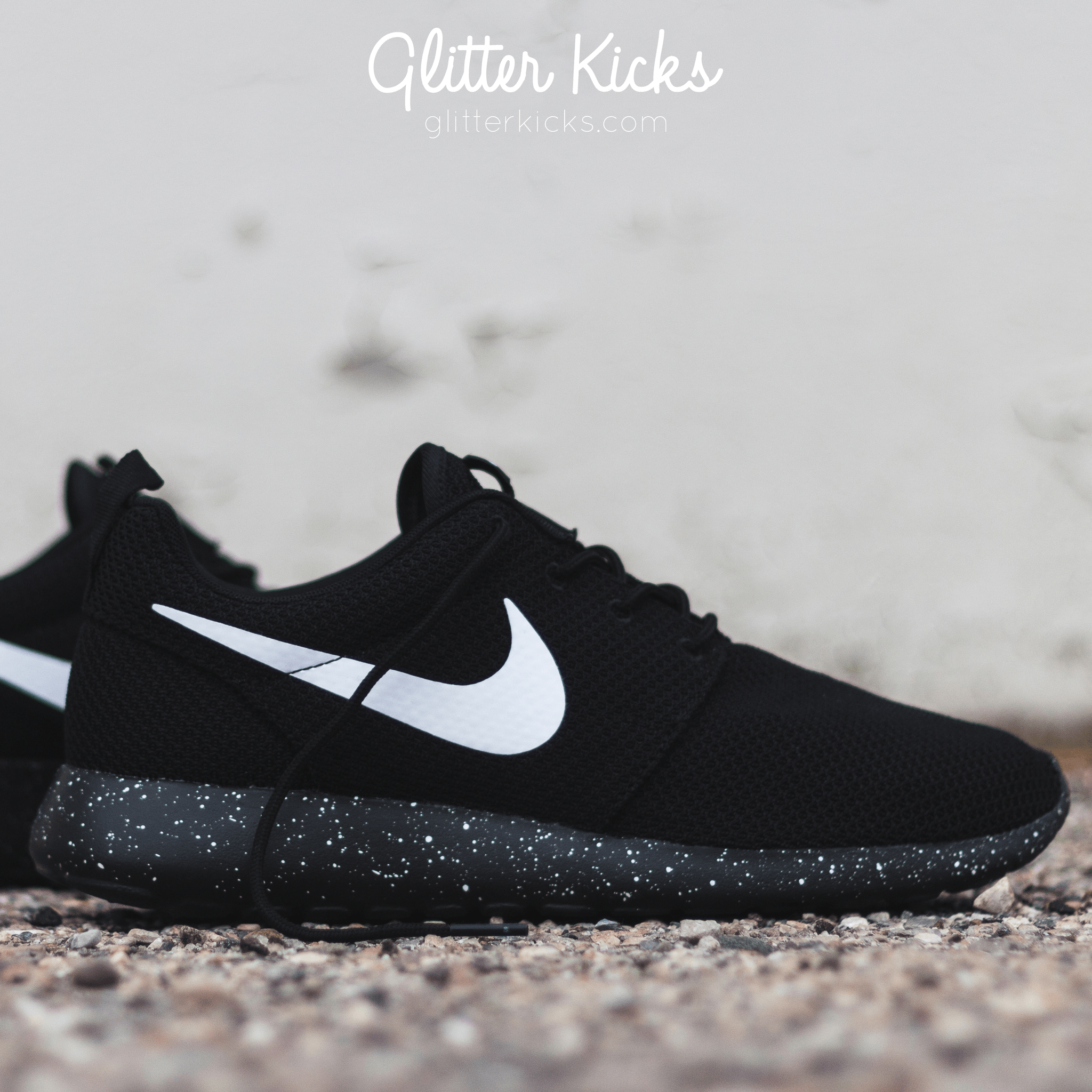 Nike Roshe One Customized by Glitter Kicks -  Oreo  Black   White Paint  Speckle deb43d3001