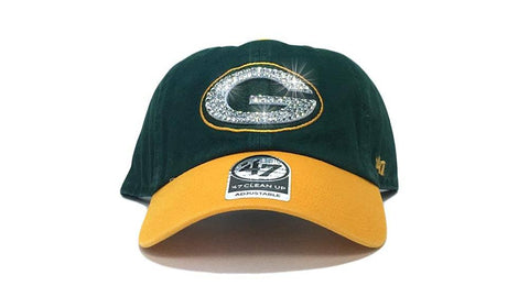 Green Bay Packers Two-Tone '47 Brand Adjustable Cap + Custom Swarovski Crystals