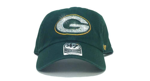 Green Bay Packers '47 Brand Adjustable Cap + Custom Swarovski Crystals