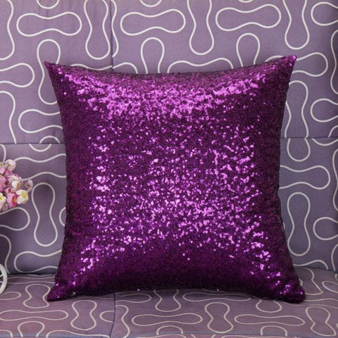 Solid Color Glitter Sequins Throw Pillow Case Cafe Home Decor Cushion Covers