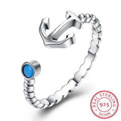 925 Sterling Silver Ring Retro simple turquoise anchor opening ring