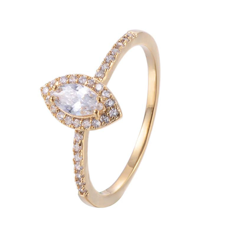Rhomb Cubic Zirconia Copper Ring 18K Gold/Platinum Plated Ring