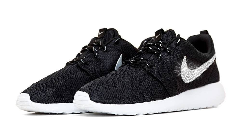 Nike Roshe One - Black/White - Crystallized Swarovski Swoosh - Glitter Kicks - 2