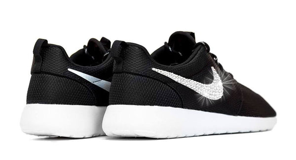 Nike Roshe One - Black/White - Crystallized Swarovski Swoosh - Glitter Kicks - 3