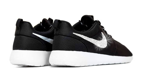 Nike Roshe One - Hand Customized Crystallized Swarovski Swoosh - Black/White