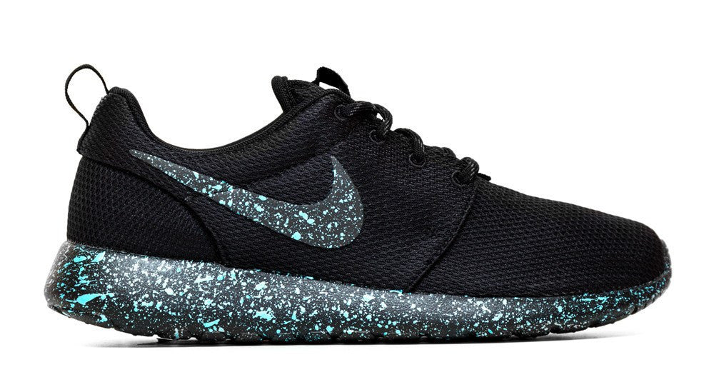 Nike Roshe One - Triple Black + Mint Paint Speckle (Men's)