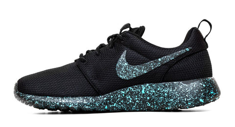 Nike Roshe One Customized by Glitter Kicks - 'Mint Oreo' Black/Mint Green Paint Speckle