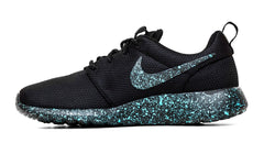 Nike Roshe One Customized by Glitter Kicks - 'Mint Oreo' Black/Mint Green Paint Speckle - Glitter Kicks