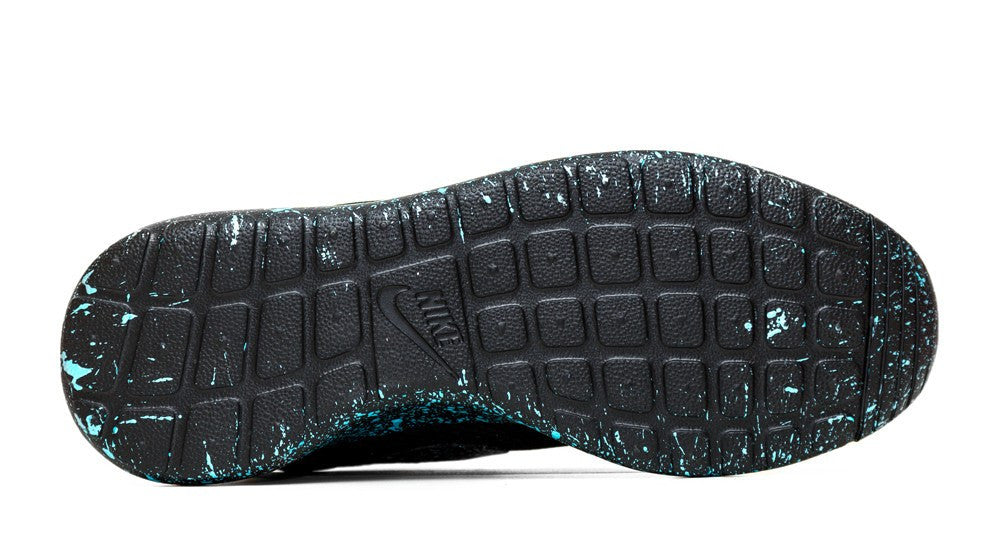 Nike Roshe One Customized by Glitter Kicks - 'Mint Oreo' Black/Mint Green Paint Speckle - Glitter Kicks - 3