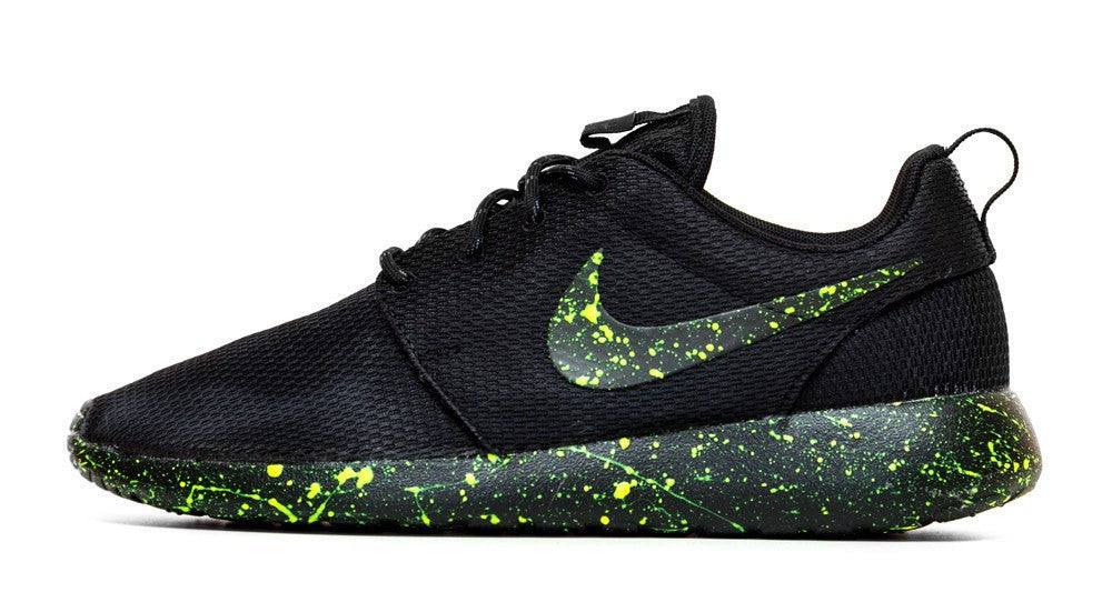Nike Roshe One - Triple Black + Neon Green Paint Speckle (Men