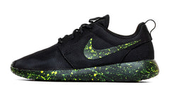 Nike Roshe One - Triple Black + Neon Green Paint Speckle (Men's)