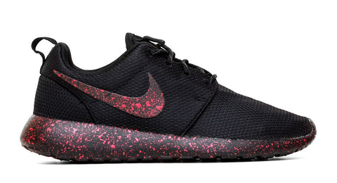 Nike Roshe One Customized by Glitter Kicks - Triple Black + Red Paint Speckle