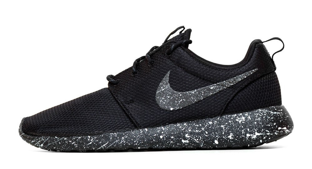 Nike Roshe One - Triple Black + Pearl White Paint Splatter - Glitter Kicks - 1