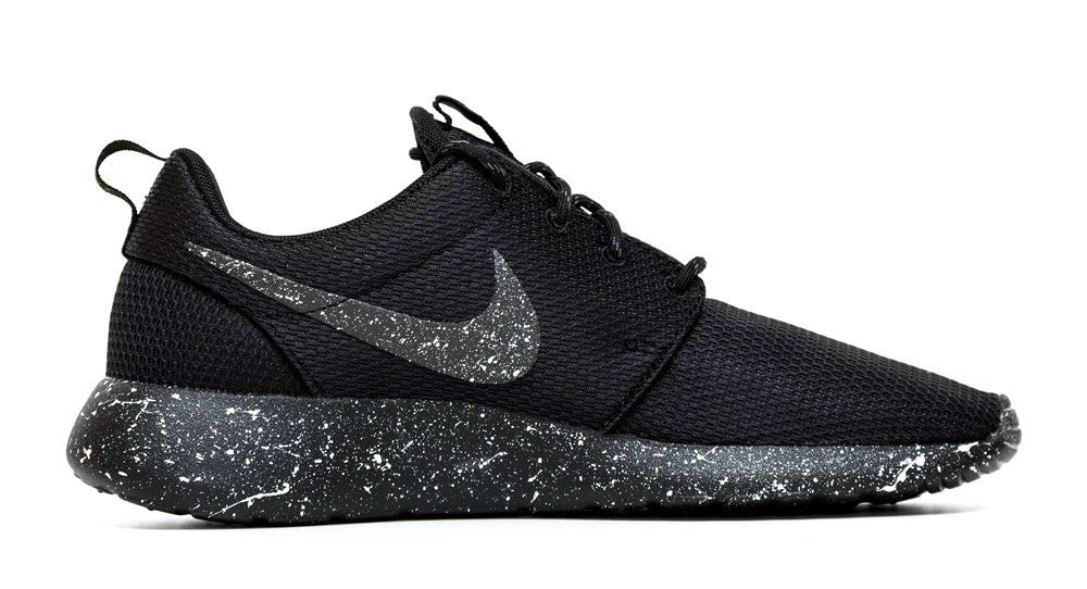 Nike Roshe One - Triple Black + Pearl White Paint Splatter - Glitter Kicks - 2