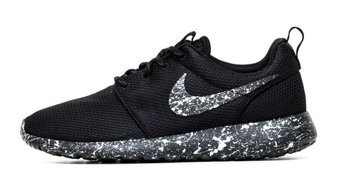 Nike Roshe One - Triple Black + Silver Paint Speckle - Glitter Kicks