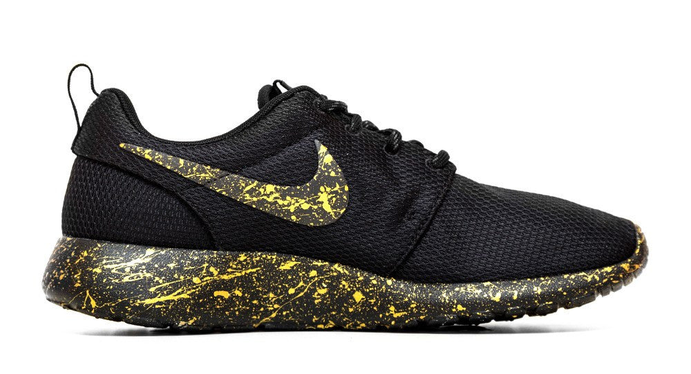 Nike Roshe One - Gold Paint Color Splatter - Glitter Kicks - 2