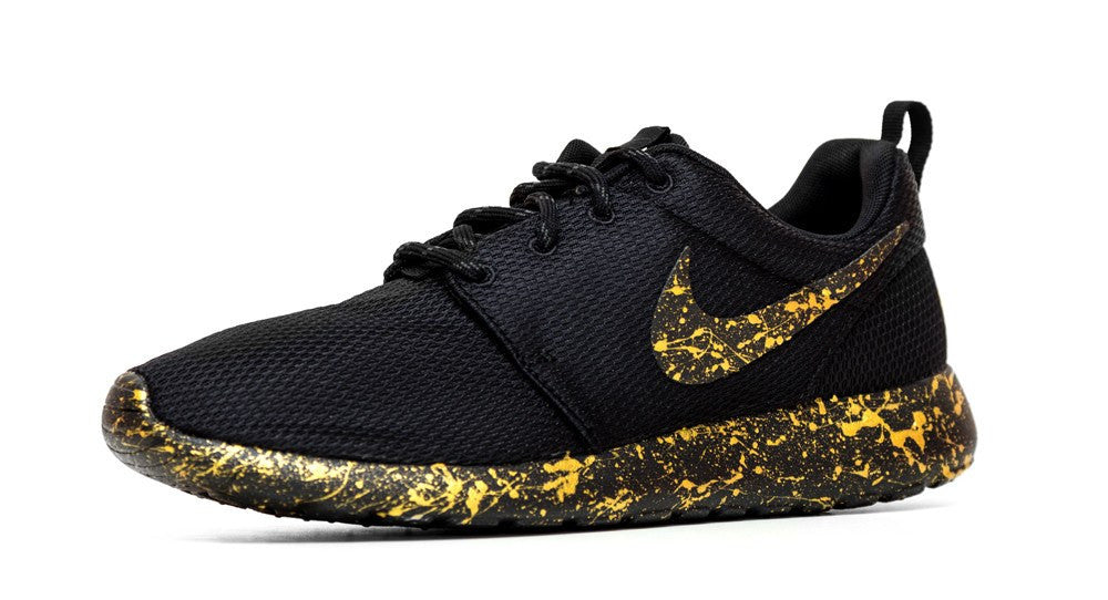 Nike Roshe One - Gold Paint Color Splatter - Glitter Kicks - 3
