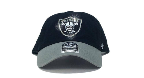 Oakland Raiders Two-Tone '47 Brand Adjustable Cap + Custom Swarovski Crystals