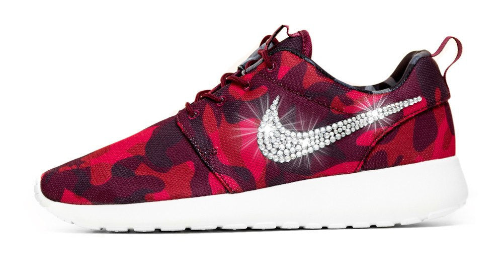 Nike Roshe One Customized by Glitter Kicks - Red/Black Camo - Glitter Kicks