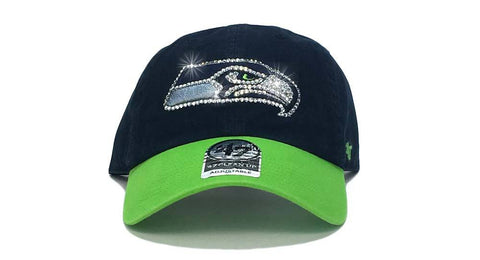 Seattle Seahawks Two-Tone '47 Brand Adjustable Cap + Custom Swarovski Crystals