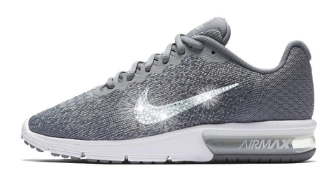 Nike Air Max Sequent + Swarovski Crystal Swoosh - Gray