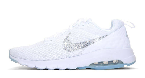 Nike Air Max Motion LW - Crystallized Swarovski Swoosh - Triple White - Glitter Kicks